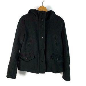 J. Crew Hooded Black Zip Up Wool Lined Jacket S